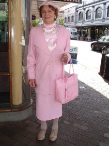 Juanita, originally from Timaru, wears a mixture of coordinated vintage.