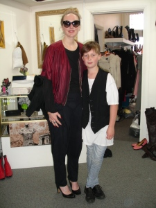 Mother and son, Aliana and Elvis. Aliana wears a jacket by NOM*d and Prada sunglasses. Elvis wears op-shop his way and shoes from The Modern Miss. Thanks so much to Inside Out for providing a great setting for the photo.