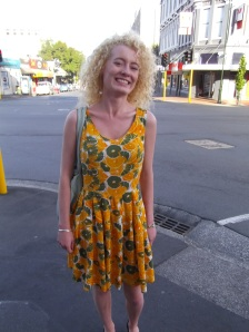 Sophie wears a vibrant dress from Farmers – amazing with your hair!