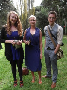 Emma, Celia and Tim. Celia wears an op shop dress by Sable & Minx.