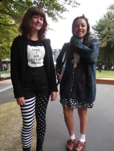 Pietre and Sophie. Pietre wears leggings from the pyjamas section in Farmers! Sophie wears head-to-toe op-shop.