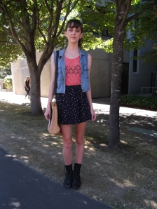 Alex wears vintage denim waistcoat and Glassons skirt.