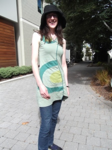 Maureen, originally from Ireland, wears op-shop dress bought specially for St Patricks Day – it only cost $4!