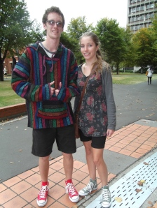 Zach and Amy. Zach wears top from Yaks n Yetis. Amy wears top from Glassons.
