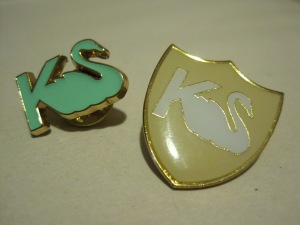 Kate Sylvester swan brooches.