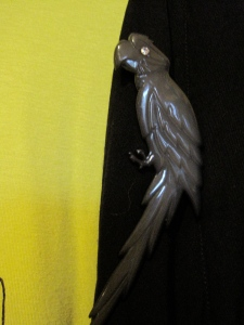 Vintage Buch & Deichmann parrot brooch from The Clothing Port (52 George Street, Port Chalmers).