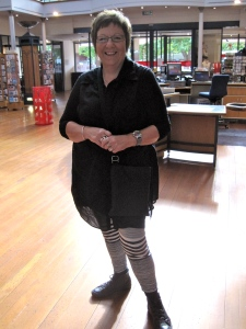 Sharon wears NOM*d shirt and leggings from French Floozie.
