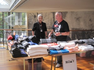 Margi and Chris Robertson at the fabric stall.