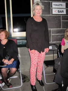 Karen wears Kate Sylvester AW13 lipstick pants. We want them too.