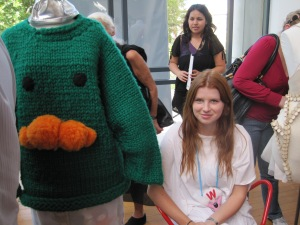 Mandy with her chunky oversized jumper. You can just see the figurines sewn into the lining of the pants. Amazing!