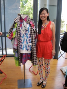 Karen with a piece from 'BelleVille'. The contrasting colours and patterns are fabulous! She also designed her leggings.