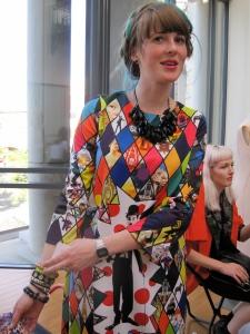 Rakel wears a dress in Miss Europe fabric.