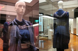 Exhibit from the 2008 collection celebrating 21 years of NOM*d. It uses two reworked vintage cocktail dresses (one inside out) with a 'Rollercoaster' polo neck jumper and skinny pants underneath.