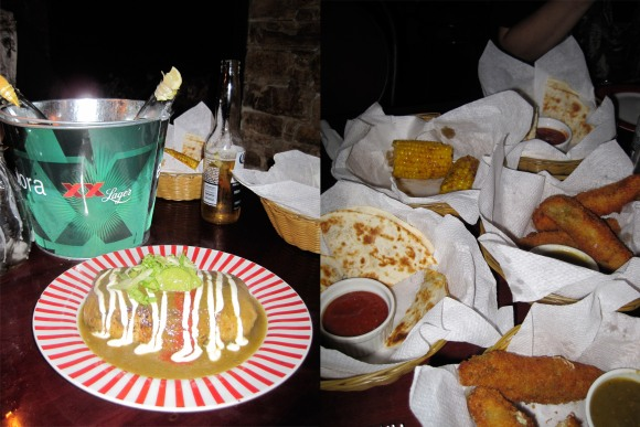 From left: vegetarian burrito, quesadillas, elote and chilli relleños