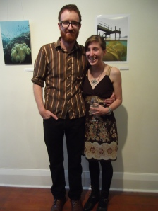 Anthea and her partner Dan. Anthea wears dress from SaveMart. Photograph to the right shows kelp on the Otago Peninsula.