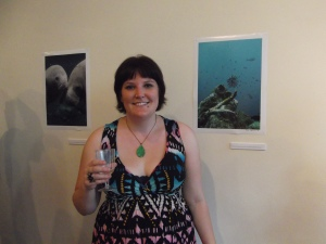 Lisa with some of Anthea's photographs.