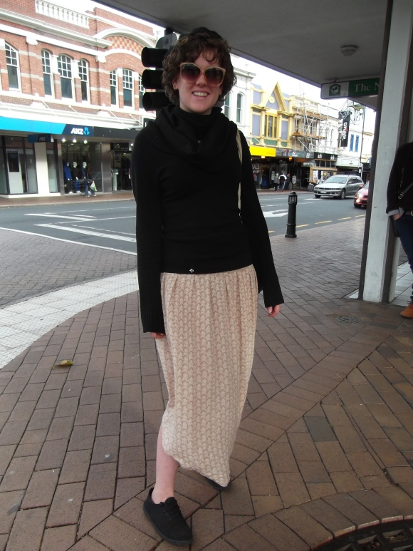 Laura wears op-shop including a skirt from Butterflies.
