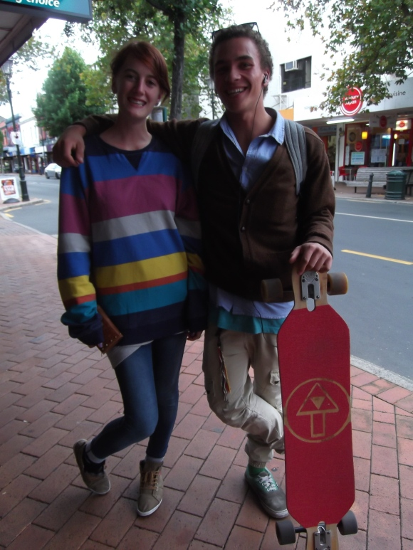 Christie and Thomas wear mostly vintage and op-shop clothing. They designed the logo on the skateboard.