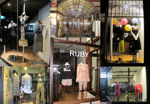 Collection of shop windows. Clockwise from top left: Annah S, Plume, Carlson, Company of Strangers, Ruby, Belle Bird.