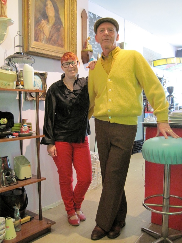 Debbie and Frits wear vintage.