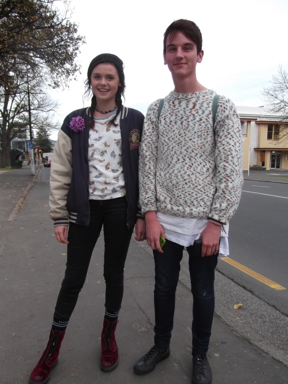 Hazel and Anthony. Hazel wears Stolen Girlfriends Club top and flower, NOM*d socks, op-shop college jacket and Doc Martens. Anthony wears op-shop jersey and Stolen Girlfriends Club top.
