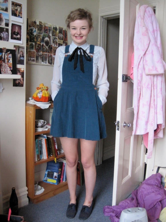 Abby's pinafore dress from Topshop teamed with a shirt bought online makes the perfect tutoring outfit for theatre class!