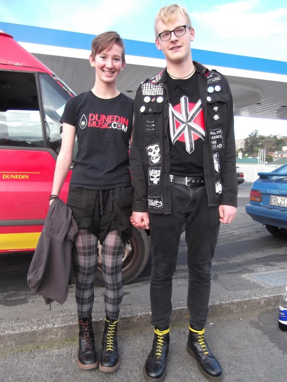 Freya and Charlie. Freya wears op-shop shorts and t-shirt from a friend. Charlie wears jacket from The Warehouse customised by himself.