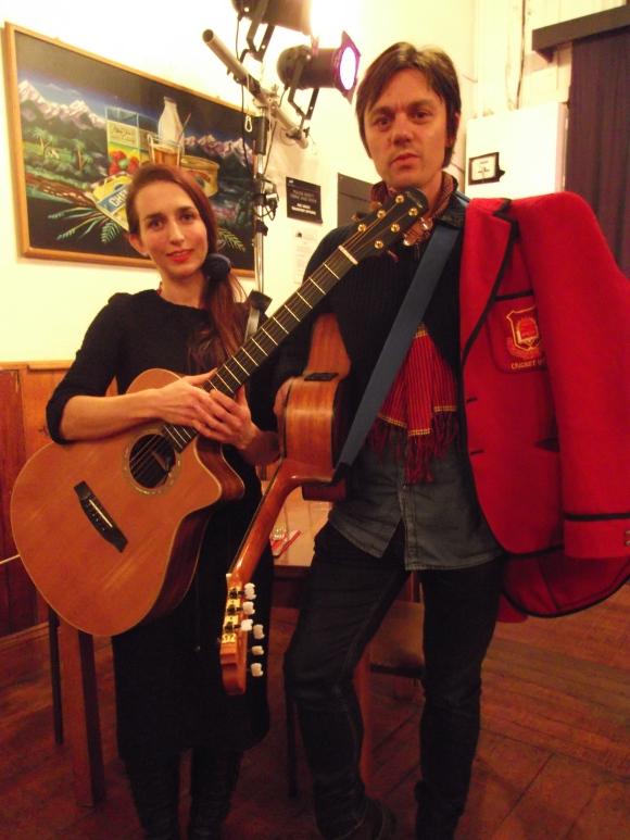 Catherine KS and Irian. Catherine wears 1940s dress from Box of Birds. Irian wears  college blazer from Box of Birds.