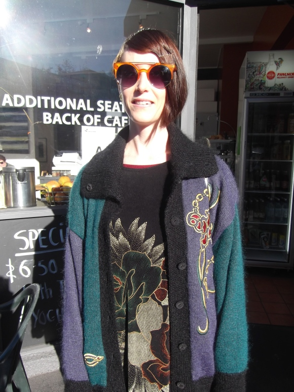 Tannia (from Most Wanted Vintage) wears cardigan from Shop On Carroll.