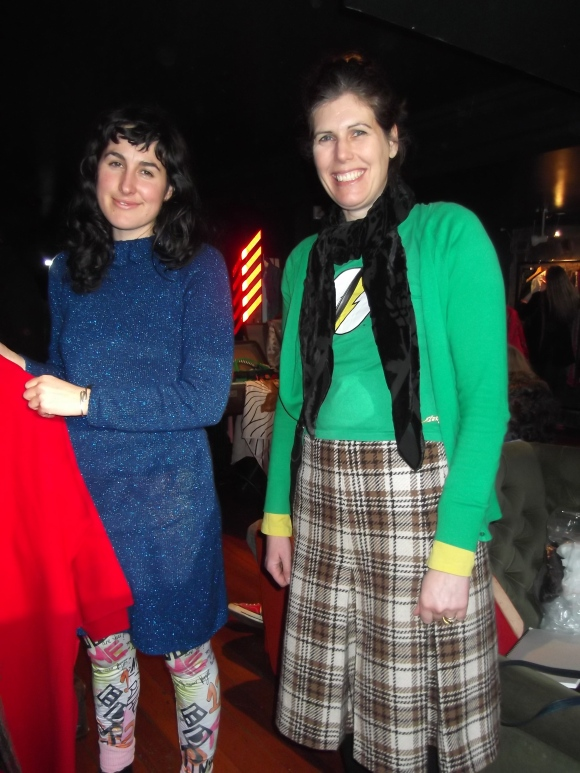 Rachel Blackburn (designer) and Amanda (from Brown Street Bespoke). Rachel wears retro and leggings designed by herself. Amanda wears op-shop.