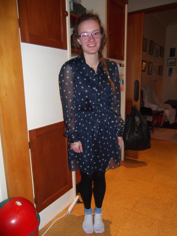 Alexa wears dress from SaveMart.