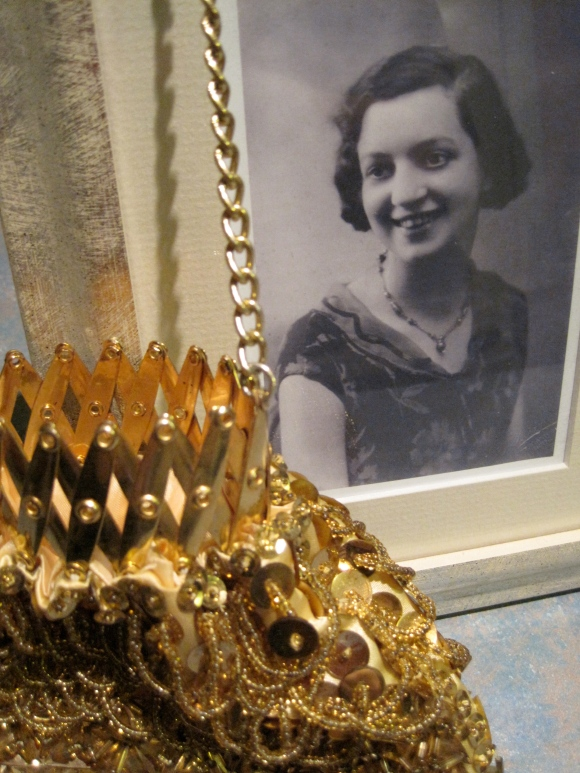 Beaded bag with concertina clasp from First of June ($15) next to 1930s photo of our beautiful grandmother.