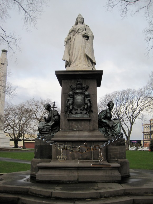 Queen Victoria admires the Kate Sylvester fob chain necklace (from Void) in Queens Gardens, Dunedin.