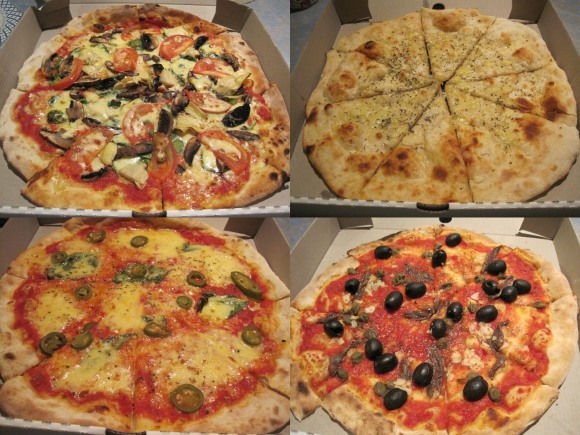 Clockwise from top left: Vegetarian, Pizza bread, Puttanesca and Margherita with extra jalapenos. There's plenty of meat pizzas too but we happen to be vegetarian.