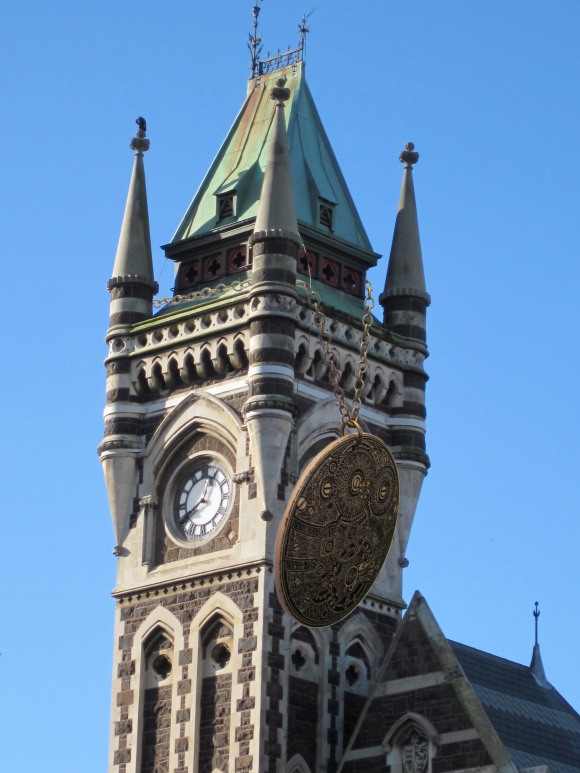 Wendy James wooden pendant scales the heights of the University of Otago clocktower.