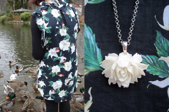 Datura dress by Stolen Girlfriends Club. Resin pendant by Annie Blackberry.