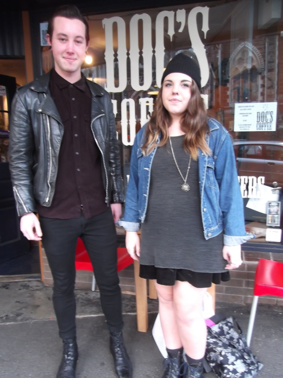 Laurence (Black Rock Coffin Maker) and Nadia. Laurence wears vintage. Nadia wears op-shop.