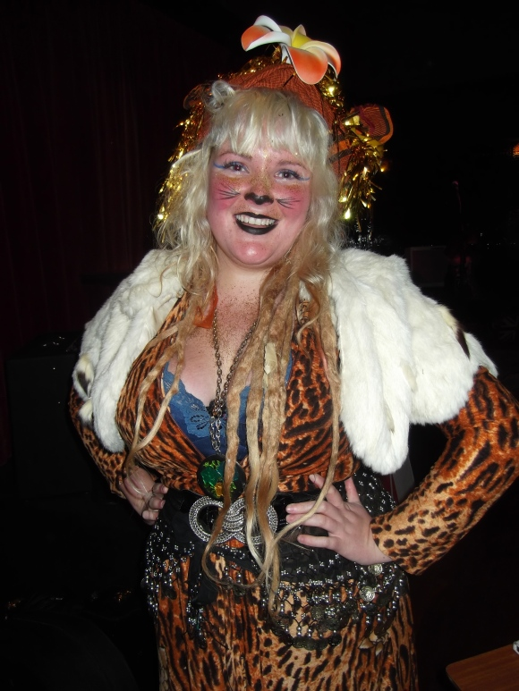 Queens' goddess and host Tahu captures the 'animal instinct' theme of the evening.
