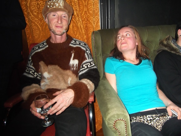 John and Kim. John wears vintage hat and jersey from a jumble sale.