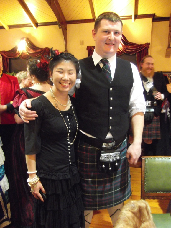 Jessie and Patrick. Patrick (from Ireland) wears his own kilt.