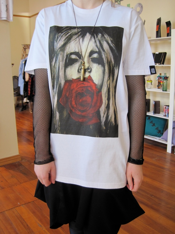Psyche tee depicting androgynous Australian male model Andrej Pejic – fashion photography influences Jon's work.