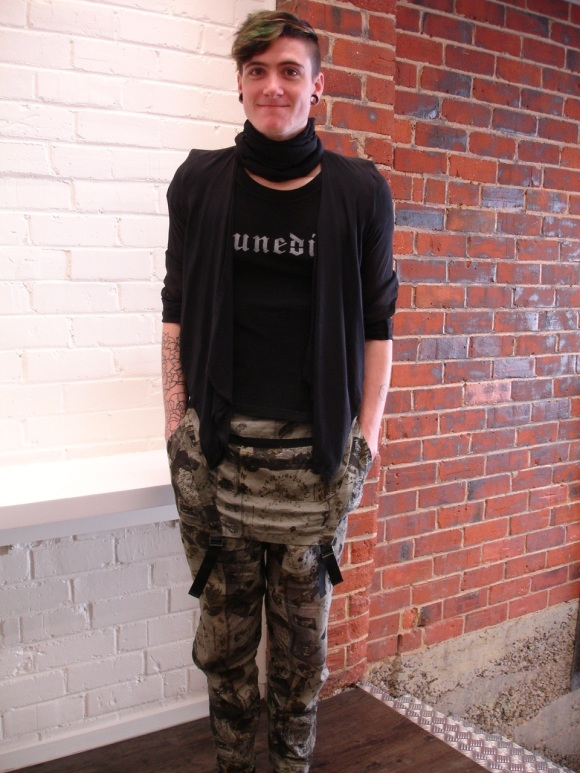 Jacket by Ann Demeulemeester. Tee and overlanders by NOM*d.