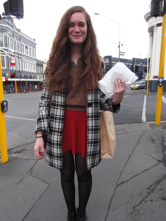 Hine wears coat from the OUSA market, vest from The Modern Miss and skirt by Glassons.