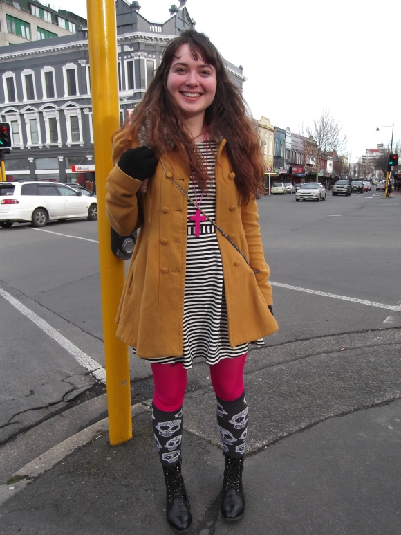 Abby wears coat by Glassons.