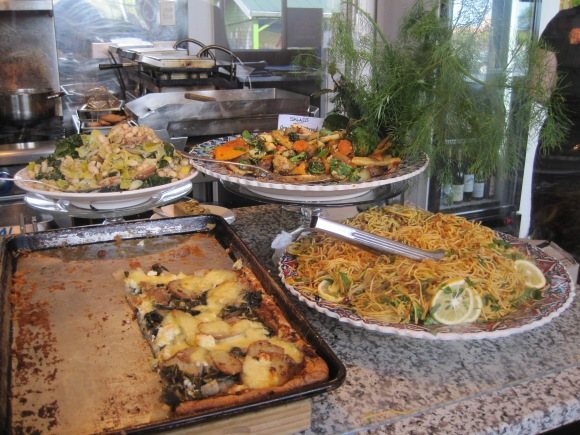 The delicious tart and salads (including Nanda's noodle salad) which change daily