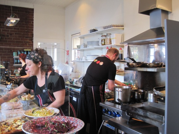 Alison and some of her great team at work. The open kitchen is reminiscent of The River Cafe which pioneered this style.