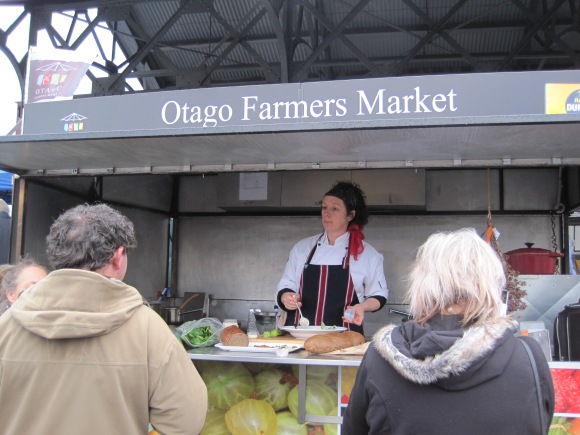 Alison in the Otago Farmers Market mobile kitchen