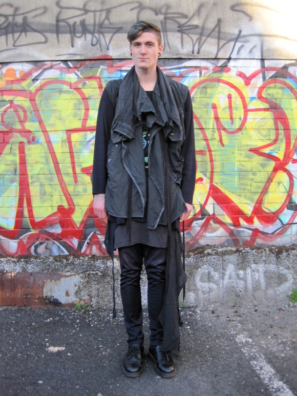Cardigan, skirt and shirt jacket by NOM*d. Dress and pants by Lela Jacobs. Sash by Damir Doma.