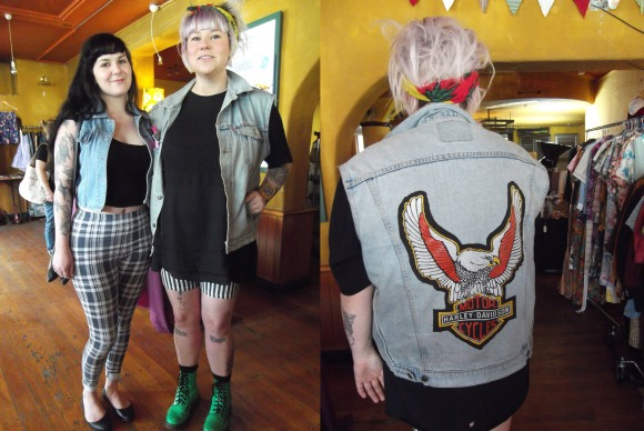 Beth and Jessie. Beth wears op shop. Jessie wears shorts by Glassons and waistcoat from ReStore.
