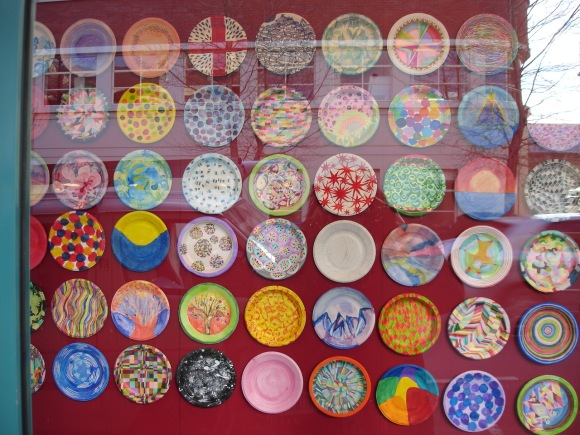 Paper plates decorated by Otago Polytechnic Art School students